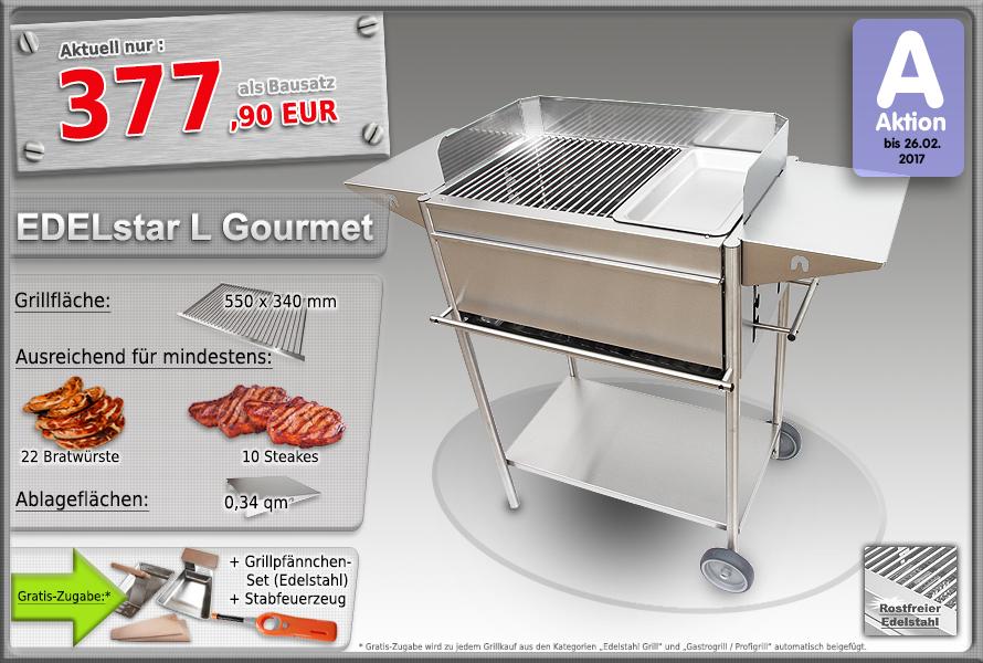 Edelstahlgrill Holzkohlegrill EDELstar L Gourmet