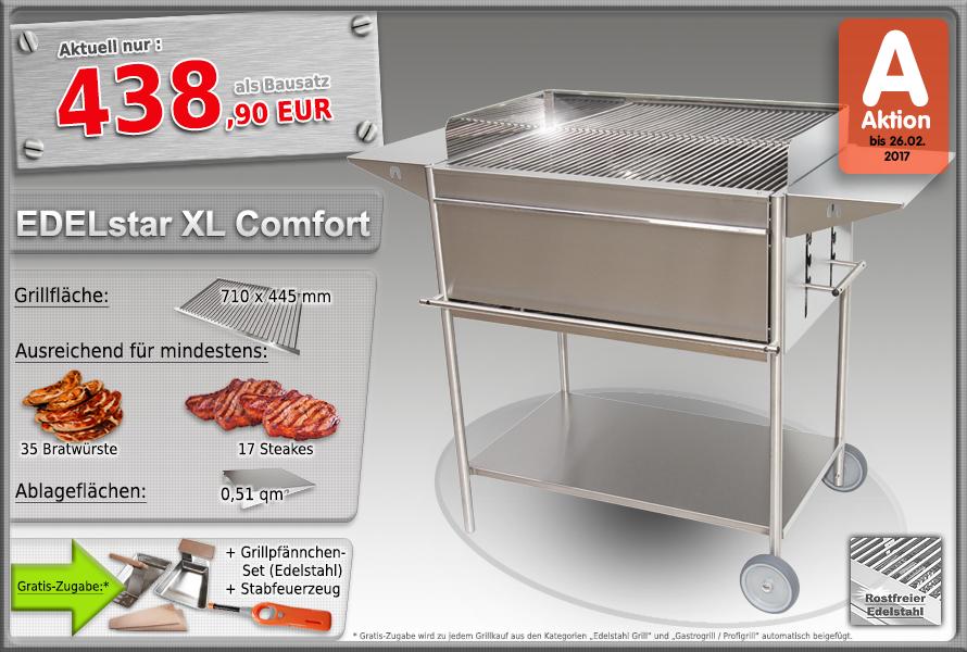 Edelstahlgrill Holzkohlegrill EDELstar XL Comfort