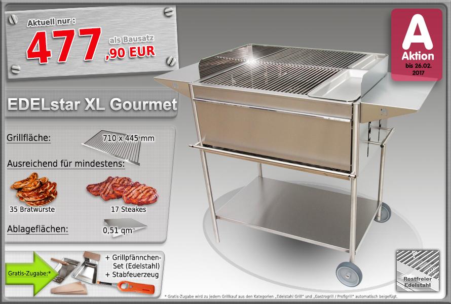 Edelstahlgrill Holzkohlegrill EDELstar XL Gourmet