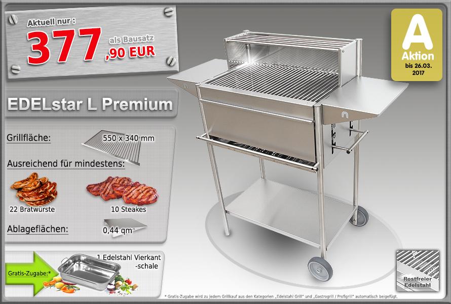 Edelstahlgrill Holzkohlegrill EDELstar L Premium