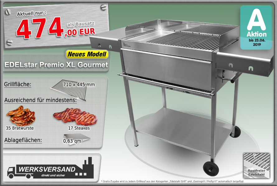 Edelstahlgrill Holzkohlegrill Edelstar Premio XL Gourmet