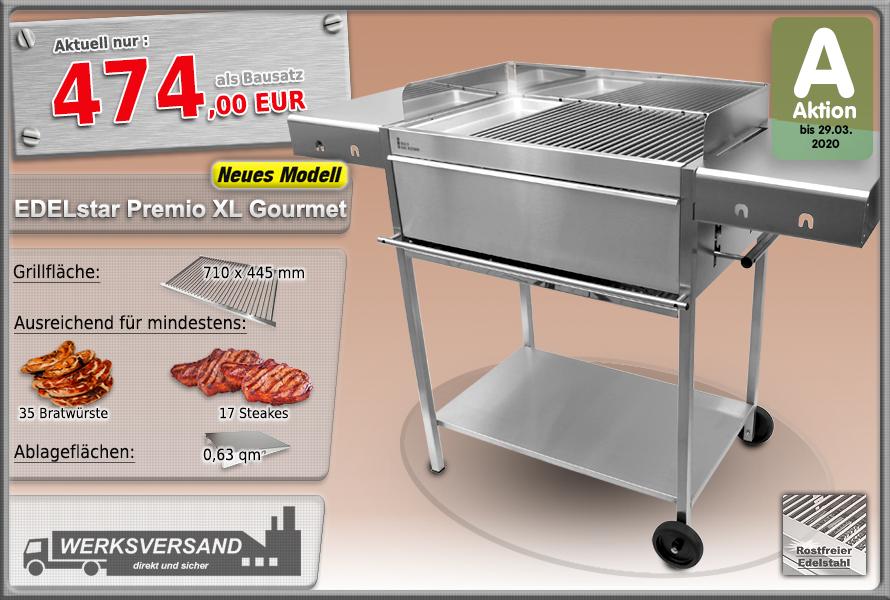 Edelstahlgrill Holzkohlegrill Edelstar Premio XL Gourmet mit zusätzlicher Grillplatte