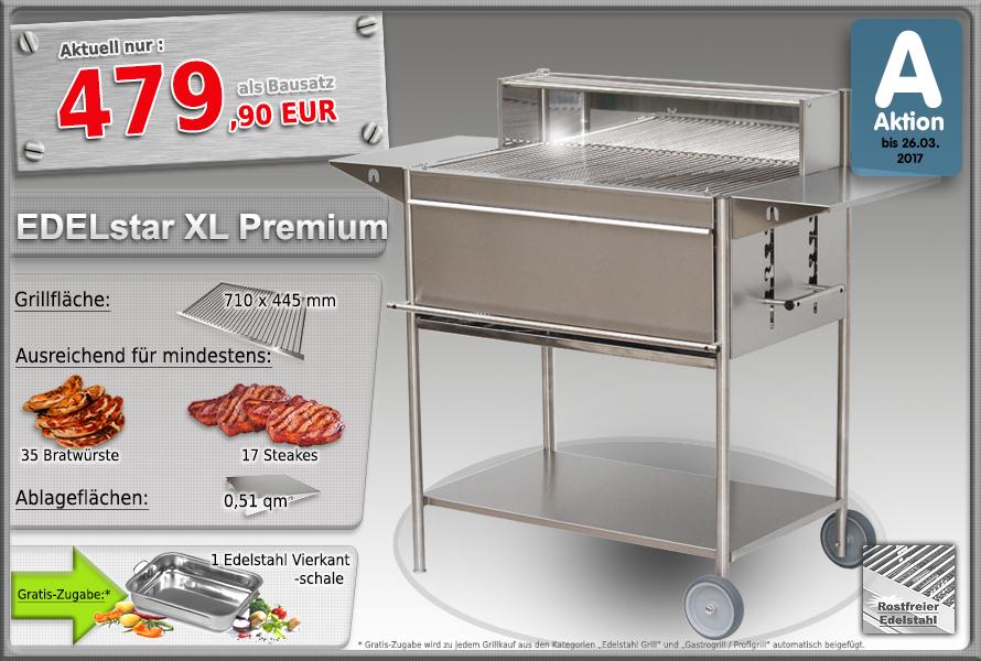 Edelstahlgrill Holzkohlegrill EDELstar XL Premium